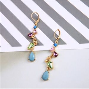 """NWTs Multi-Colored Crystal Long Earrings 2 1/2""""H"""